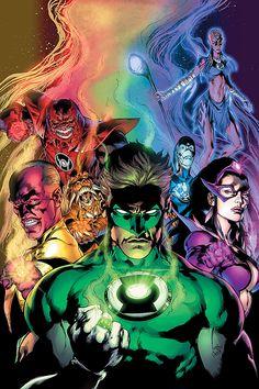 Thaal Sinestro, Hal Jordan, Carol Ferris, Atrocitus, Larfleeze, Saint Walker (Bro'Dee Walker) and Iroque (Indigo-1) by Ivan Reis, Oclair Albert, Joe Prado and Alex Sinclair