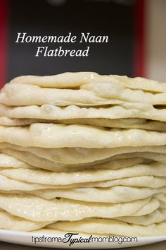 This Homemade Naan Flatbread recipe is simple to make and the perfect Naan or flatbread to go along with any curry, Indian Dish or used for a Gyro. #Bread #Naan #FlatBread #Recipe