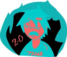 A doodle of 2D. Character and lead singer on the Gorillaz band. Project created by Damon Albarn and Jamie hewlett.