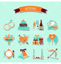 Set of retro wedding icons and design elements vector - by incomible on VectorStock®