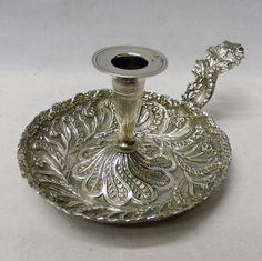 Antigüedades Chamberstick de plata turca