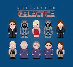 Battlestar Galactica Characters  Cross Stitch by pixelpowerdesign, $8.00