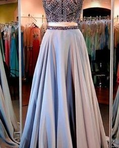 Simple Prom Dresses, 2 piece prom gown two piece prom dresses evening gowns 2 pieces party dresses evening gowns sparkle formal dress for teens LBridal Formal Dresses For Teens, Prom Dresses 2016, A Line Prom Dresses, Prom Party Dresses, Dress Party, Work Dresses, Graduation Dresses, Dresses Dresses, Wedding Dresses