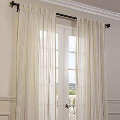 Striped Linen Sheer Curtain Panel