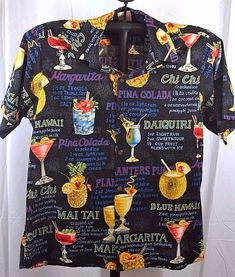 2fe04c0c5 Go Barefoot Hawaiian Shirt SS Black/Drink Recipes L USA Coconut Shell  Buttons #GoBarefoot