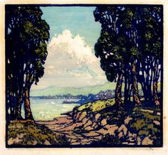 ✨  Frances Hammell Gearhart (1869-1958) - Incoming Fog, 1930, Colour Woodcut