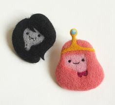 This listing is for one hand-made, needle-felted brooch of either Princess Bubblegum or Marceline the Vampire Queen.    Each one measures