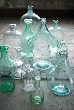 love watery old bottles credit House Doctor Antique Bottles, Vintage Bottles, Bottles And Jars, Antique Glass, Glass Jars, Colored Glass Bottles, Apothecary Bottles, Coloured Glass, Vintage Perfume