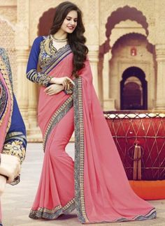 Blooming Pink And Blue Georgette With Patch Border Work Saree  http://www.angelnx.com/Sarees/Wedding-Sarees