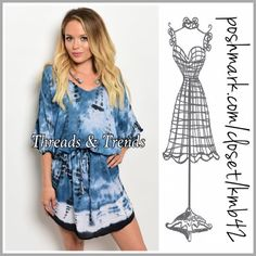 """Indigo Tie-Dye Dress So cute and so popular this season. The indigo color tie-dye look. Featuring a drawstring waist and blouson bodice. Made of rayon. Size S, M, L. Min. bust 38"""", length 36"""", Max bust 42"""" Length 38"""". Threads & Trends Dresses Mini"""