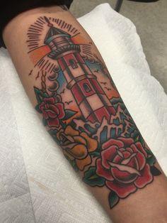 American Traditional Lighthouse. By Alvin Aldridge at Fine Tattoo Work. Orange, CA