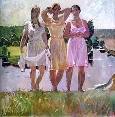 spring-song-1945.jpg Aleksandr Deyneka Social Realist women look real actually.