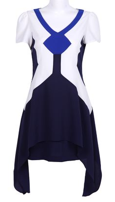 Navy White Short Sleeve Asymmetrical Dress US$99.46