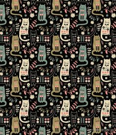 'Cat Folk ' Case/Skin for Samsung Galaxy by limegreenpalace - Cat Art - Cat Wallpaper Wallpaper Gatos, Cat Wallpaper, Wallpaper Backgrounds, Iphone Wallpaper, Crazy Cat Lady, Crazy Cats, Cat Pattern Wallpaper, Buy A Cat, Pattern Art