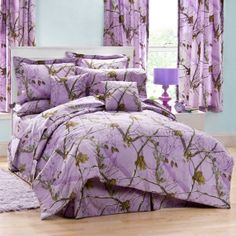 "Realtree Lavender Camo Sheet Set #realtree #camo #bedding / So no one can  see you reading in bed after ""lights out""."