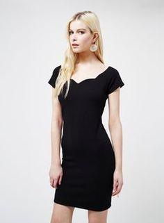 Black Scallop Bodycon Dress
