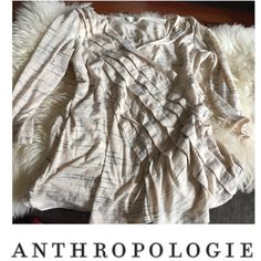 Anthropologie Deletta Cream & Blue Wrap Look Top Anthropologie Deletta Cream & Blue Wrap Look Top. Layered fabric. 3/4 length sleeve. Bust is 21, length is 27 in. Worn just a couple of times. Excellent condition. Feel free to make an offer. Anthropologie Tops Blouses