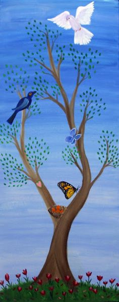 one of the four paintings in my Chakra Tree Series (Spring)