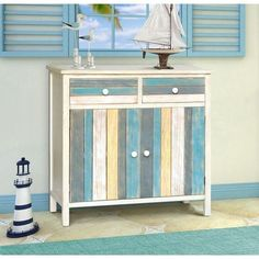 Gallerie Decor Seaside 2 Drawer and 2 Doors Accent Cabinet Beach Furniture, Coastal Furniture, Paint Furniture, Furniture Outlet, Online Furniture, Seaside Decor, Beach House Decor, Coastal Decor, Home Decor