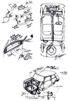 The original sketch (On a napkin!) of the Mini by designer