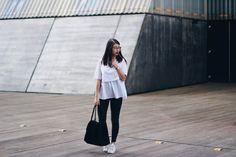 Outfit / Blaue zweilagige Bluse   in high fashion laune - Fashion Blog aus Düsseldorf und Aachen