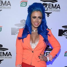 Holly G Shore (I don't know who she is lol but she's apparenyla celebrity) with Rockabilly Blue by Manic Panic...