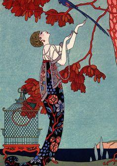 French Art Deco fashion print by Barbier. 1914 http://www.vintagevenus.com.au/products/vintage_poster_print-g106