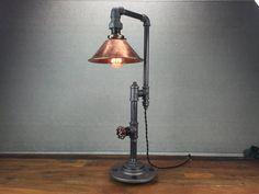 Kupfer-Edison-Lampe - Industriemöbel - Eisen Rohr Tischleuchten - rustikale Licht - Schatten