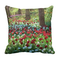 Woodland Tulips, Red, White, and More. Pillows