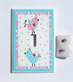 1 Pixie Baby Aqua and Pink Birds or just polka dot center switch plate single only