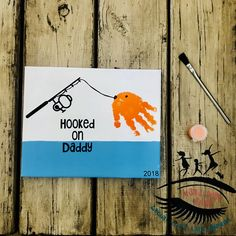Hooked on Daddy Fishing Toddler Handprint Art Baby Handprint Art Fathers Day gift Mama Dont Blink Diy Father's Day Crafts, Father's Day Diy, Baby Crafts, Holiday Crafts, Kids Crafts, Fathers Day Art, Fathers Day Crafts, Fathers Day Craft Toddler, Mothers Day Gifts Toddlers