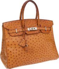 Hermes 35cm Cognac Ostrich Birkin Bag with Palladium Hardwar...