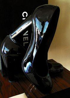 26cb06699e7 CHANEL PUMPS Heels Black Patent Gold Logo Sz 40  08 Collection + Box  Dustcover  CHANEL  PumpsClassics  Any