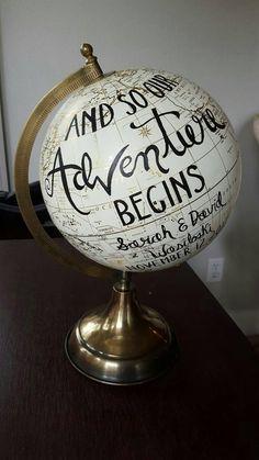 Personalized wedding globe, painted globe