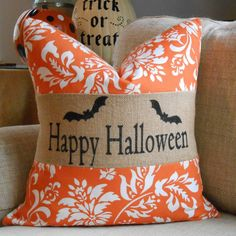 Halloween burlap orange & black pillow cover by LowCountryHome