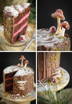 Stump de Noel Cake Recipe - Mulled Wine Chocolate Cake with Black Cherry Buttercream Filling Sweet Recipes, Cake Recipes, Dessert Recipes, Noel Cake Recipe, Beautiful Cakes, Amazing Cakes, Buttercream Filling, Pink Frosting, Fantasy Cake