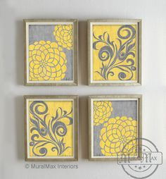Yellow and Gray Dahlia Flower Artwork Set of  4 Wall Art - Vintage Floral Flower Art - Bedroom , Living room , Bathroom