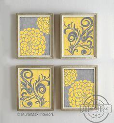 Yellow and Gray Dahlia Flower Artwork Set of  4 Wall Art - Vintage Floral Flower Art - Bedroom , Living room , Bathroom