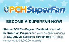 Superfan cards at pch.com
