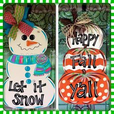 Decorate your door this Fall & Winter with this aDOORable stack of pumpkins on one side and snowman on the other!!! It measures 24 inches