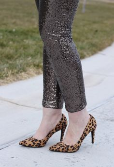 Skinny sequin pants and an oversized cowl neck sweater with leopard pumps; New Year's Eve and holiday outfit idea; The Weekly Style Edit fashion link up