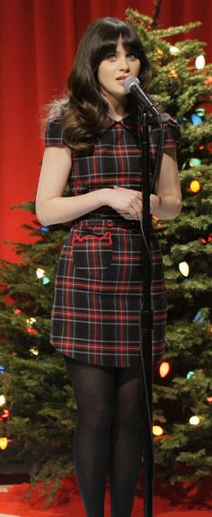 Zooey Deschanel's Plaid Dress with Cat Pockets