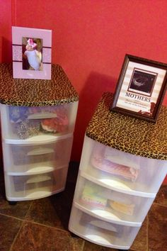 #DIY organizing container with leopard print duct tape on top! <3