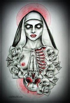 NUN tattoo design by oldSkullLovebyMW.deviantart.com on @deviantART
