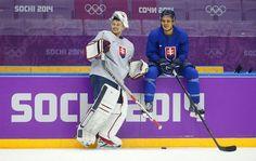 Slovakia goaltender Jaroslav Halak, left, and Branko Radivojevic Alexander Ovechkin, Ryan Miller, Nhl Players, Sidney Crosby, Winter Olympics, Hockey, Cool Photos, Basketball Court, Sports
