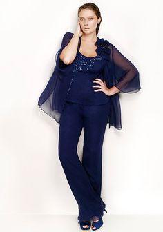 Tailleur pantalone blu per taglie forti - Proposta in tre pezzi molto elegante.