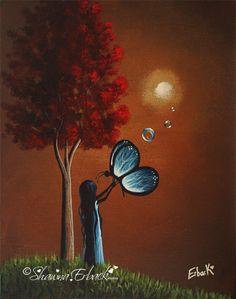 """""""girl butterfly light tree modern"""" de Shawna Erback, artiste canadienne."""