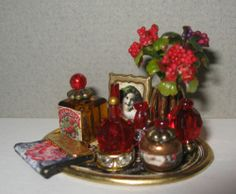 Charming Dollhouse Miniature Red Vanity Tray with Flowers Framed Picture | eBay
