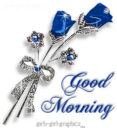 Animated sparkling blue roses GIF Good Morning – See this Animated Gif…