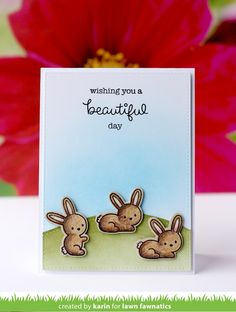 I'm here to share some Friday inspiration for the Lawn Fawnatics Challenge . This time our theme is Summertime fun and here. Cool Cards, Diy Cards, Snow Bunnies, Bunny, Lawn Fawn Stamps, Stamping Up Cards, Fun Challenges, Crafty Projects, Summertime